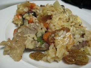 Pilaf me perime dhe mish qëngji